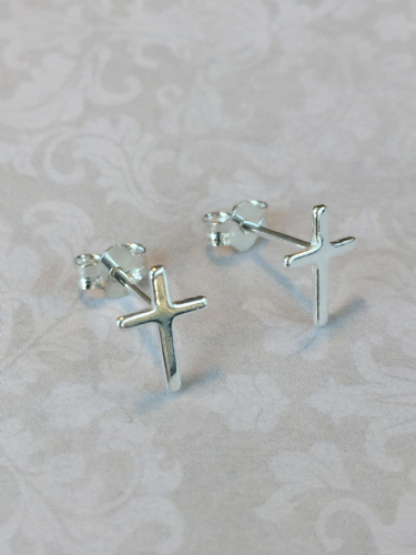 First Holy Communion gift -  silver cross earrings